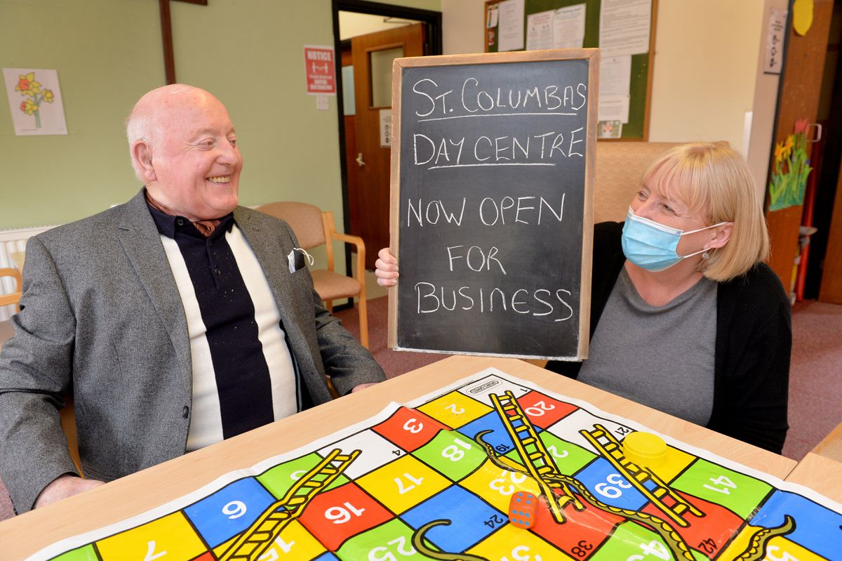 Volunteers at St Columba's Day Centre, Wolverhampton are appealing for support. Pictured left, user Alf Russell with manager Jeanette Hall