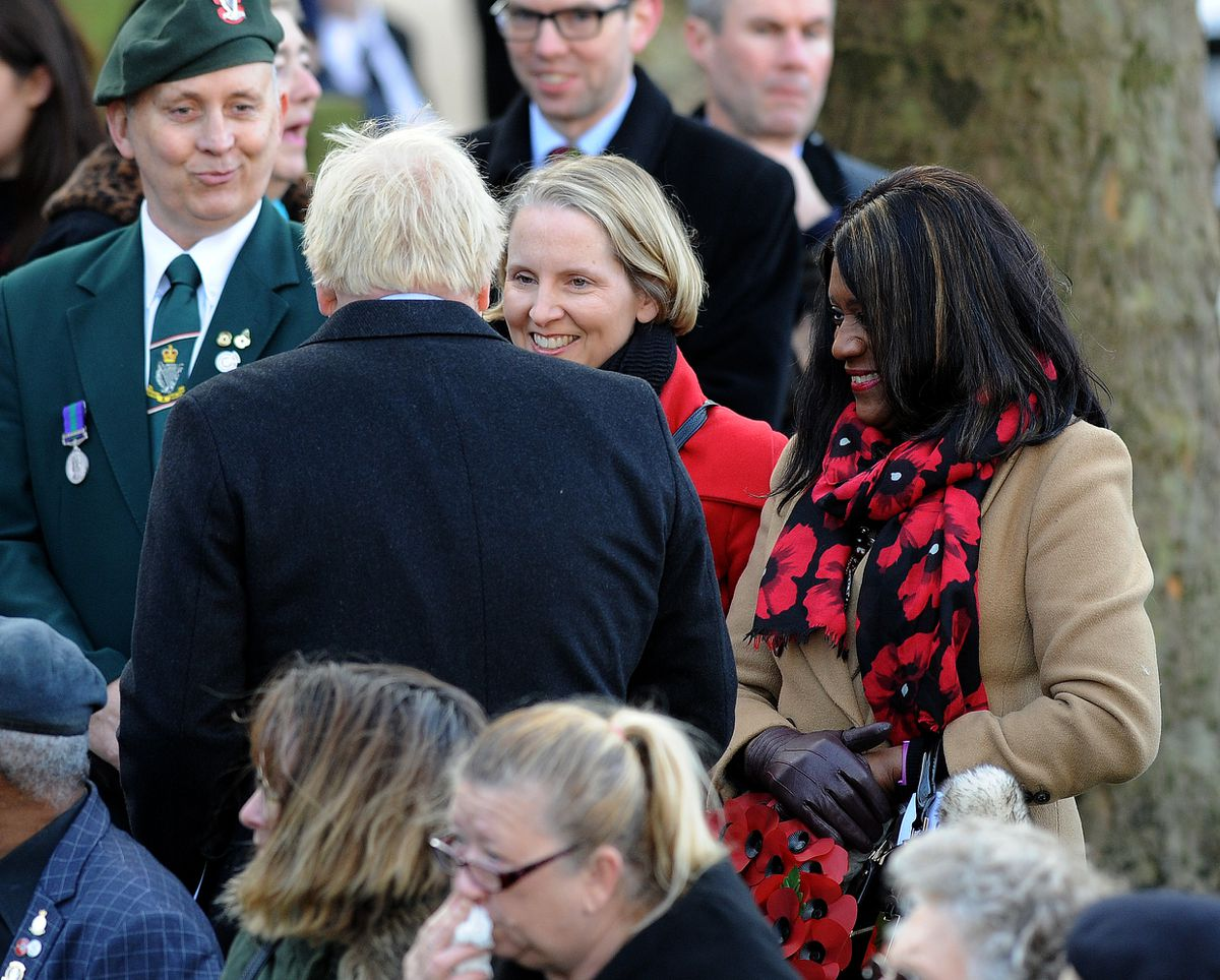 Mr Johnson chatting with local Labour MPs Emma Reynolds and Eleanor Smith