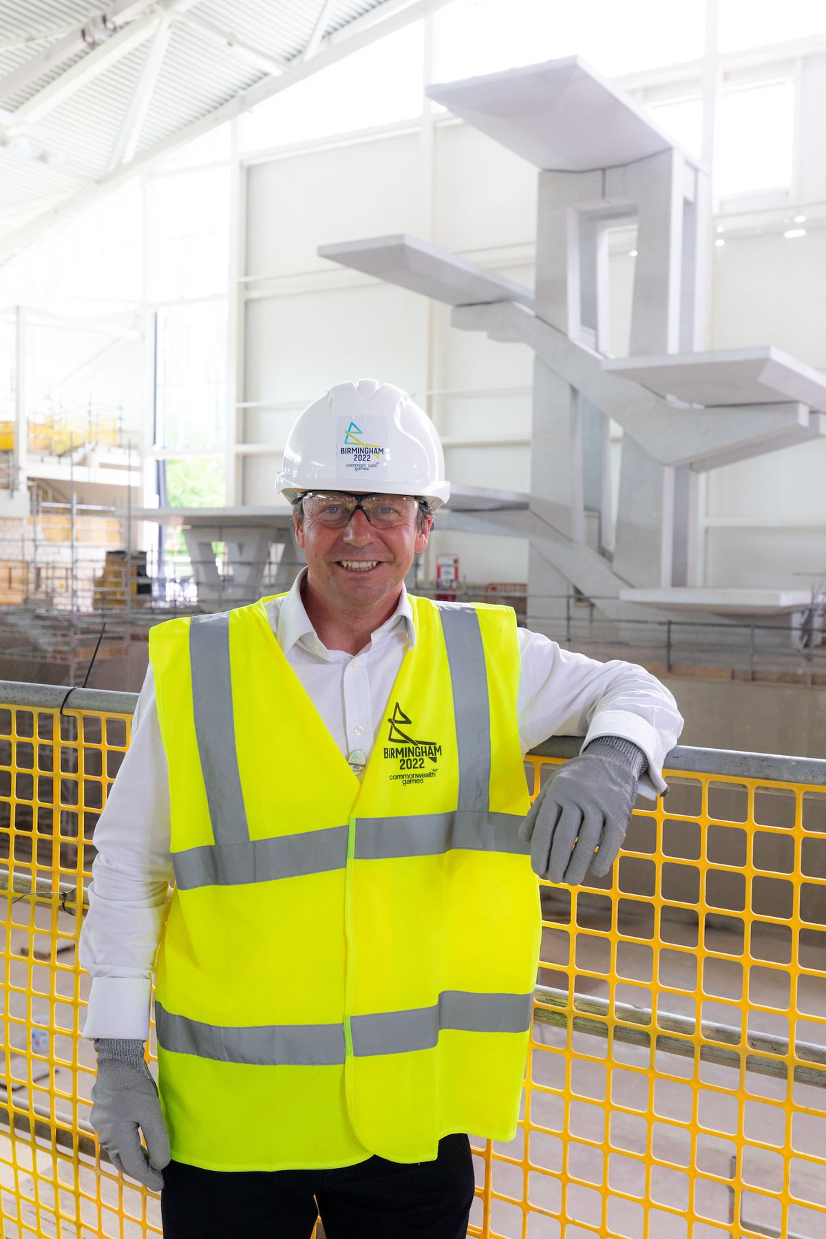 Nigel Huddleston , minister for Tourism, Sport and Commonwealth Games, on site