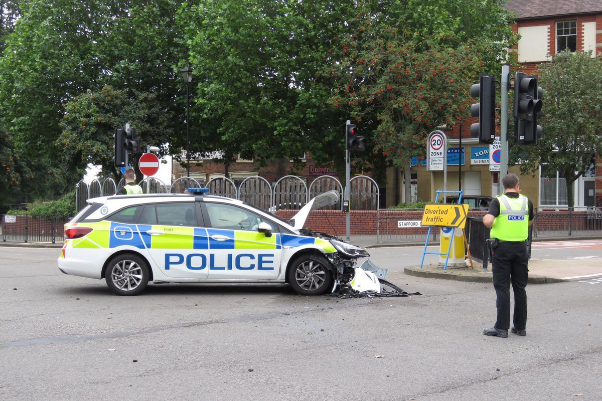 The aftermath of the crash at the junction of Stafford Street and Ring Road St Peters