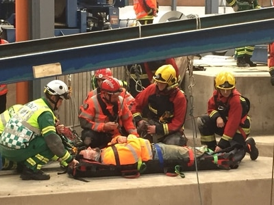 Workmen rescued by firefighters after falling into Oldbury pit