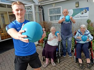 DUDLEY  COPYRIGHT TIM STURGESS EXPRESS AND STAR...... 22/03/2021 Joab Wheatley from Dudley is  the founder of Generation Fitness.He holds exercise classes to care homes for residents.  Joab is pictured at Castle Meadows care home in Sedgley with left, Maureen Ford, Ben Hughes and Roma Mann..