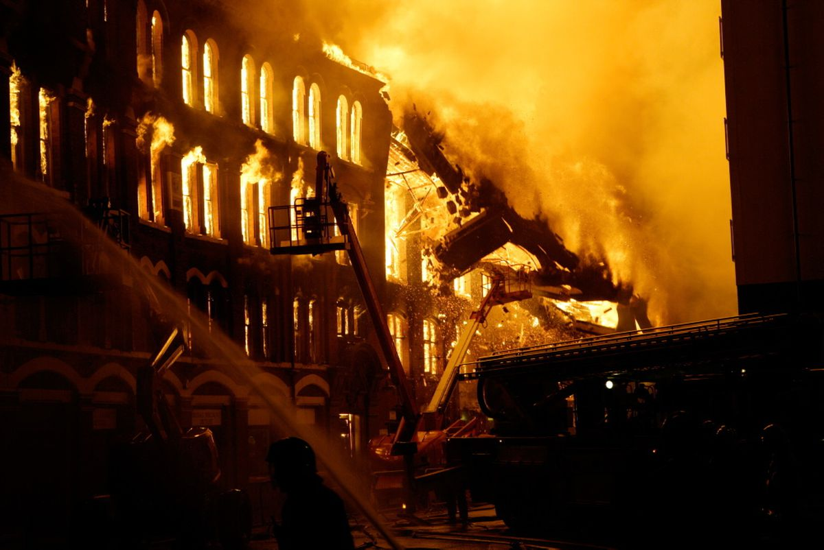 The fire which destroyed Shannons Mills in George Street, Walsall. Photo Aaron Manning/West Midlands Fire Service.