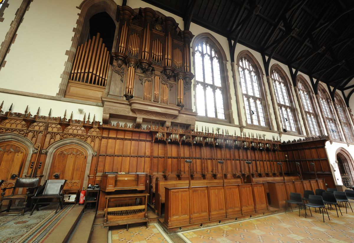 The organ inside the Priory Church of St Thomas