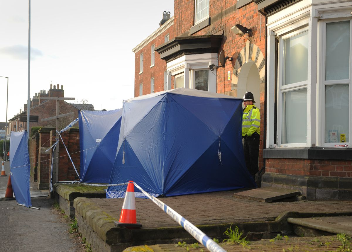 Police at a property in Wolverhampton Road, Stafford, following the attack in London