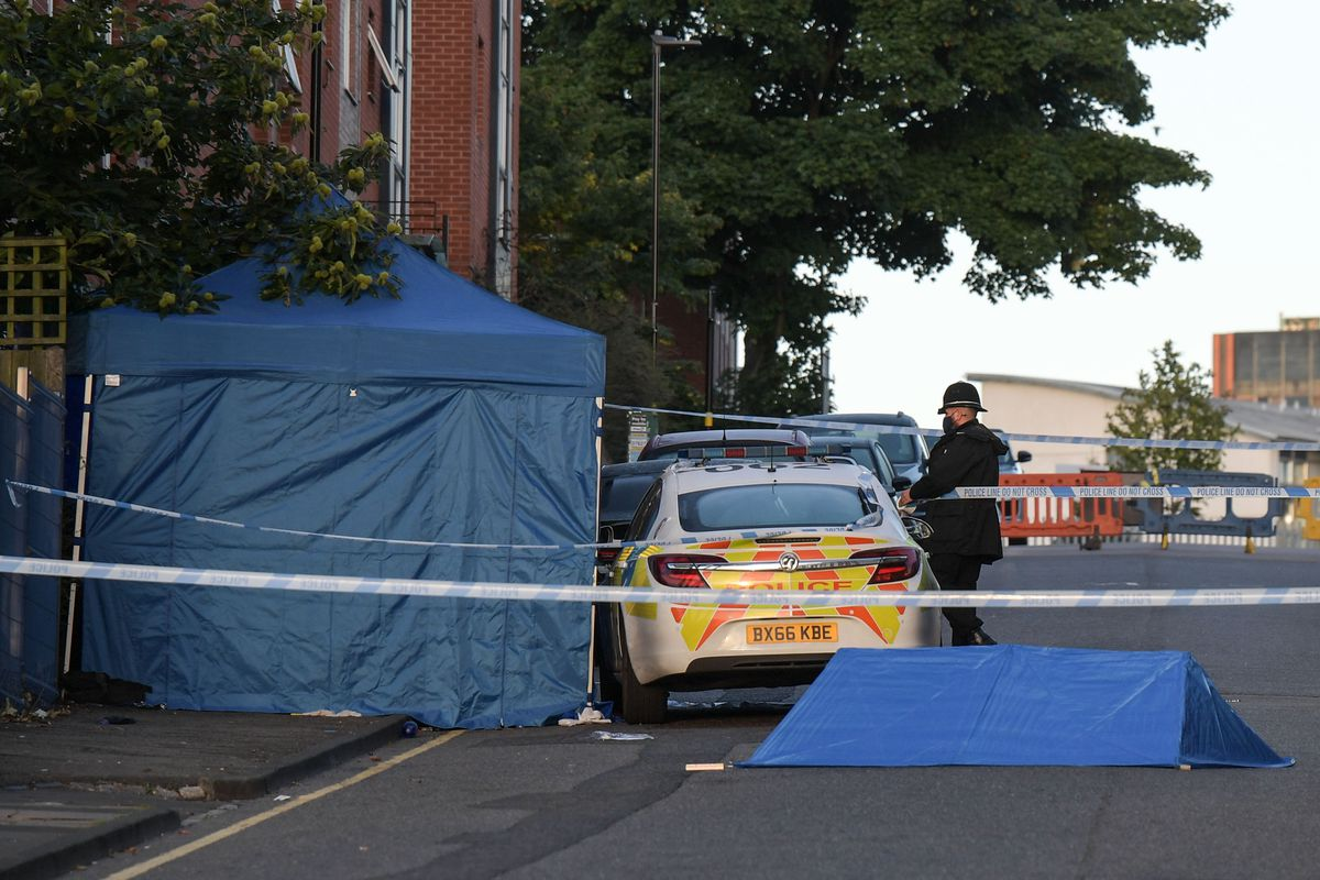 Emergency services at the scene in Birmingham. Pic: SnapperSK