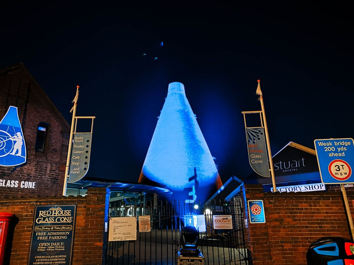 The Red House Glass Cone in Stourbridge was lit up blue for the NHS on Saturday
