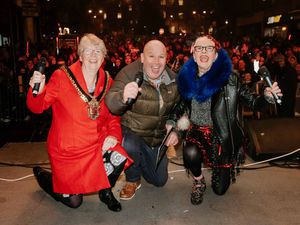 Wolverhampton Mayor Councillor Claire Darke, Dicky Dodd and Su Pollard at last year's Wolverhampton Christmas Lights Switch On event