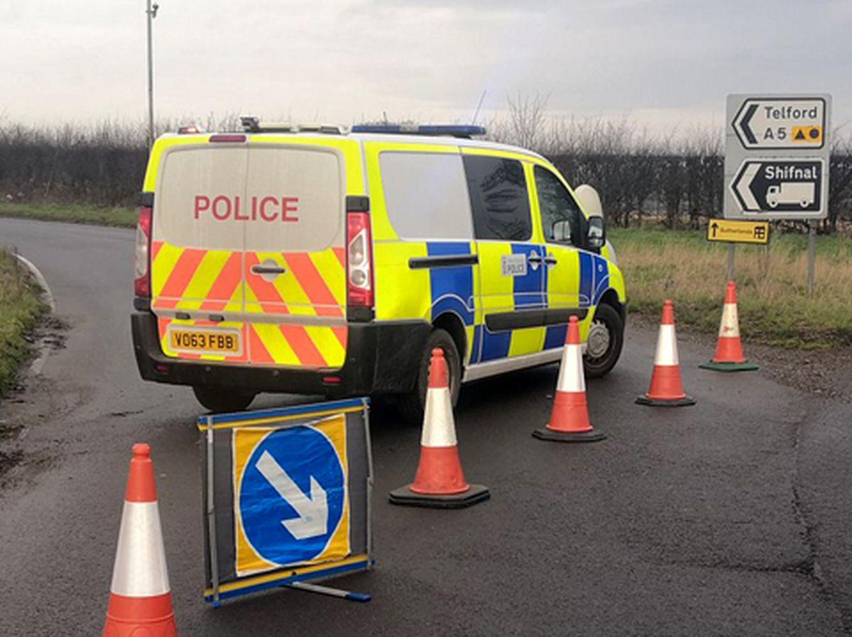 Police cordoned off the A5 near the crash scene. Photo: Newport SNT.
