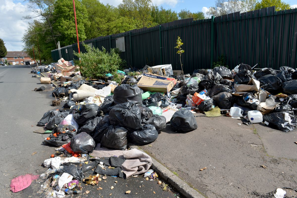 Fly-tippers have been leaving the rubbish on the street for weeks