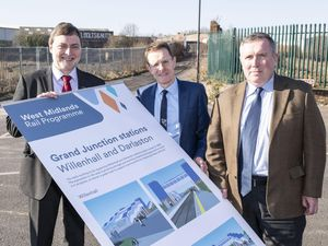 Councillor John Reynolds, Mayor of the West Midlands Andy Street and Councillor Adrian Andrew unveiled the plans at the Darlaston station site in 2019