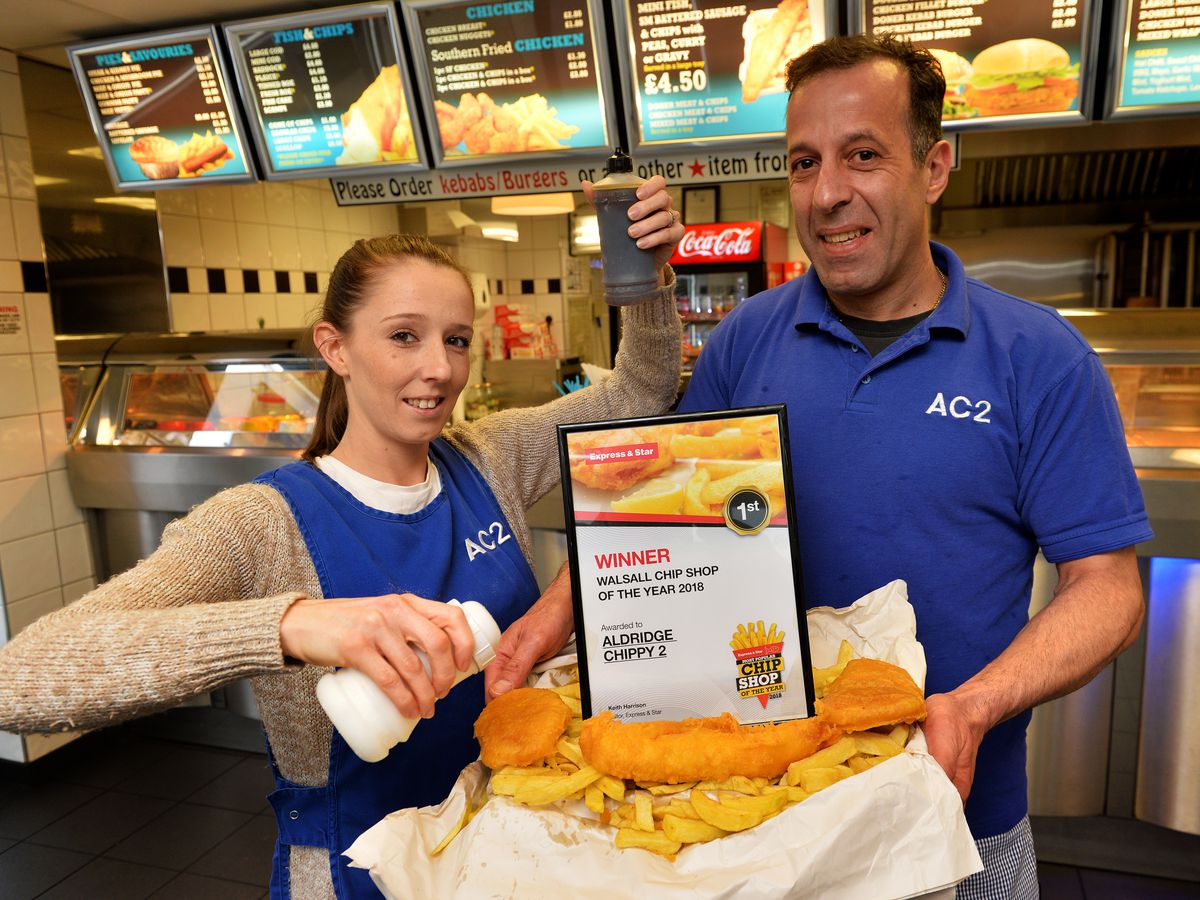 E&S Walsall chip shop of theyear 2018, Aldridge Chippy 2 , Walsall Wood. Pictured left , Leigh Taylor and Triv Papettas