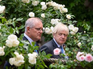 Boris Johnson with Australian PM Scott Morrison in the garden of 10 Downing Street after agreeing the broad terms of a free trade deal