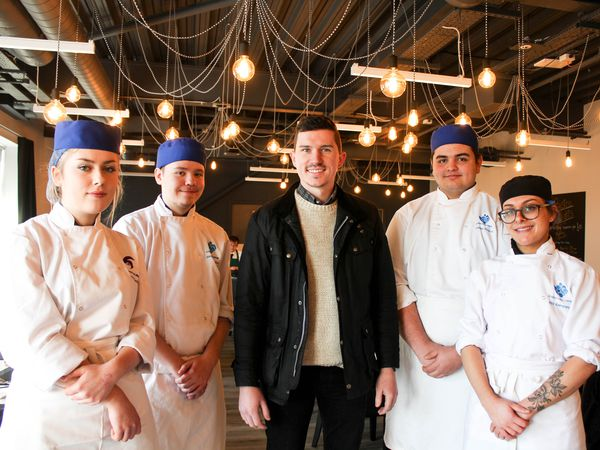 Stuart with current students Lauren Yardley, Sam Clayton, Connor Pogson and Abi Kemmings