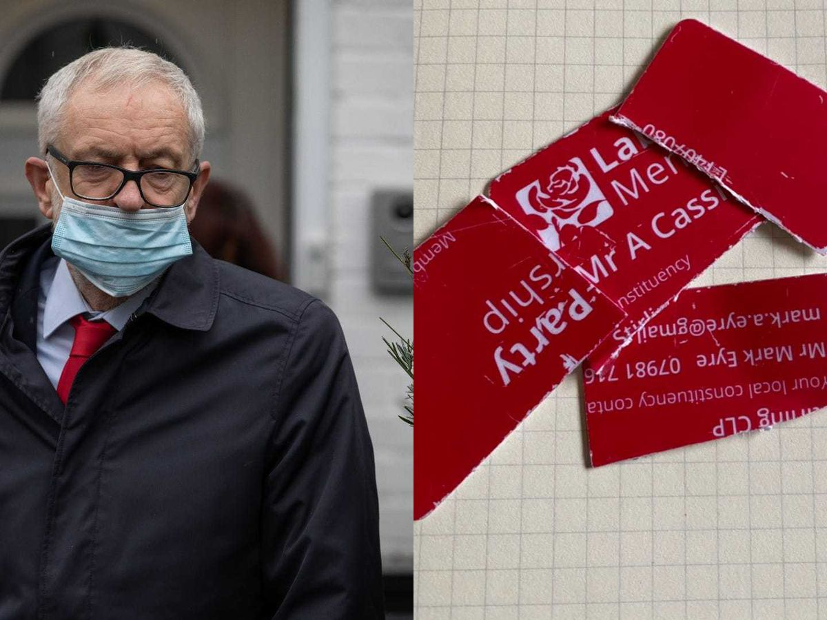 Former Labour leader Jeremy Corbyn leaves his house in North London, and a ripped up Labour Party membership card