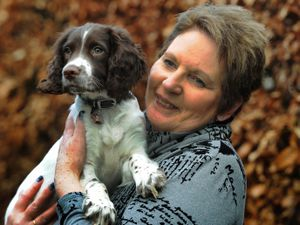 Diane Attwell with her recovery puppy Mable
