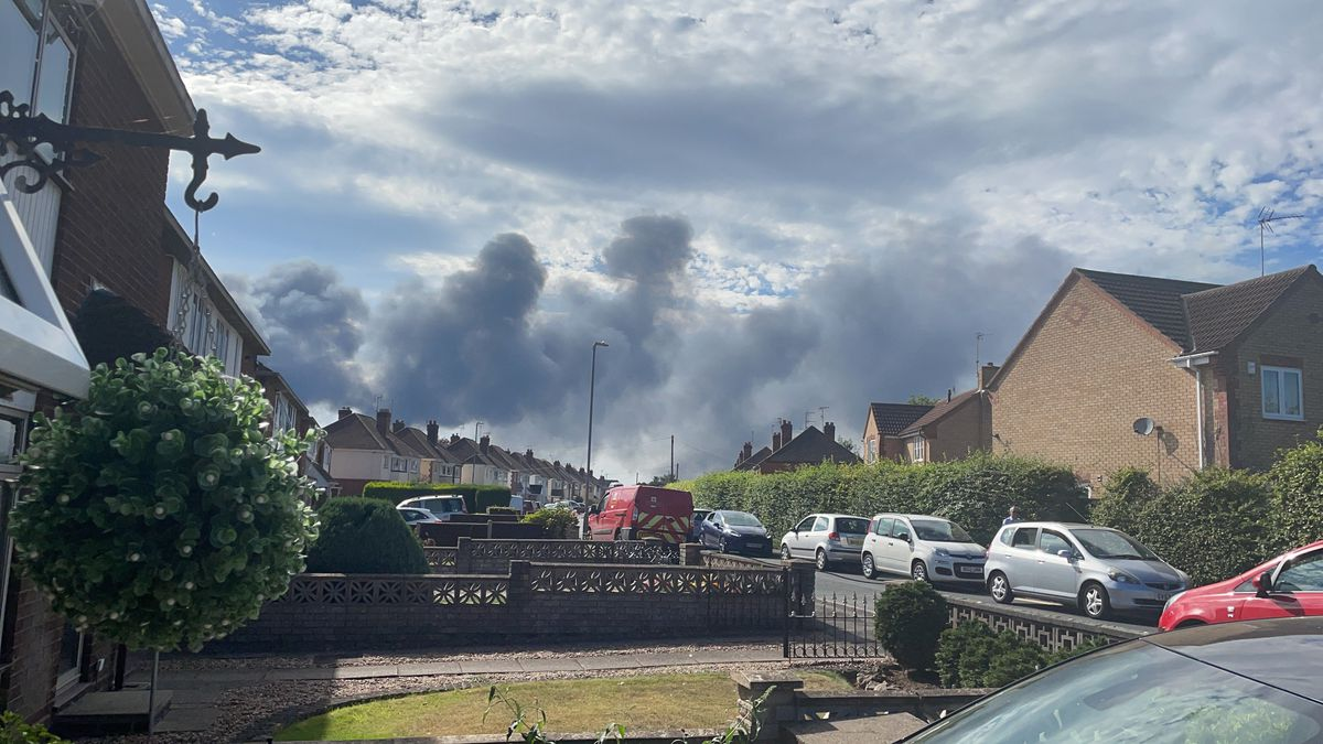 Plumes of smoke could be seen from the Broadwaters area of the town