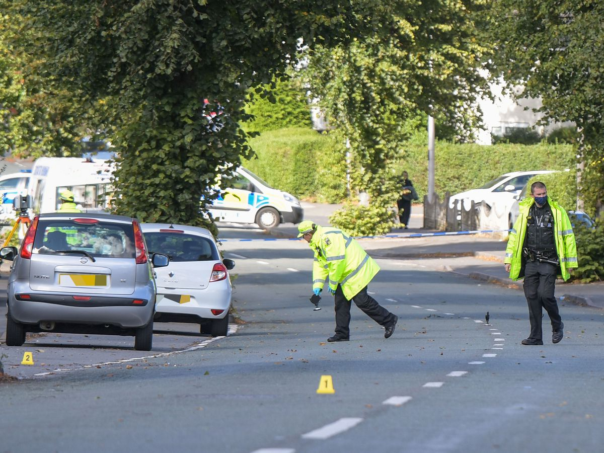 Police at the scene in Warley Road, Oldbury. Photo: SnapperSK