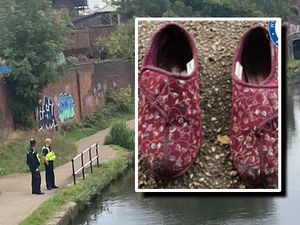 Police at the scene where a woman was found dead and, inset, the slippers she was wearing. Canal photo: Barry Dunn