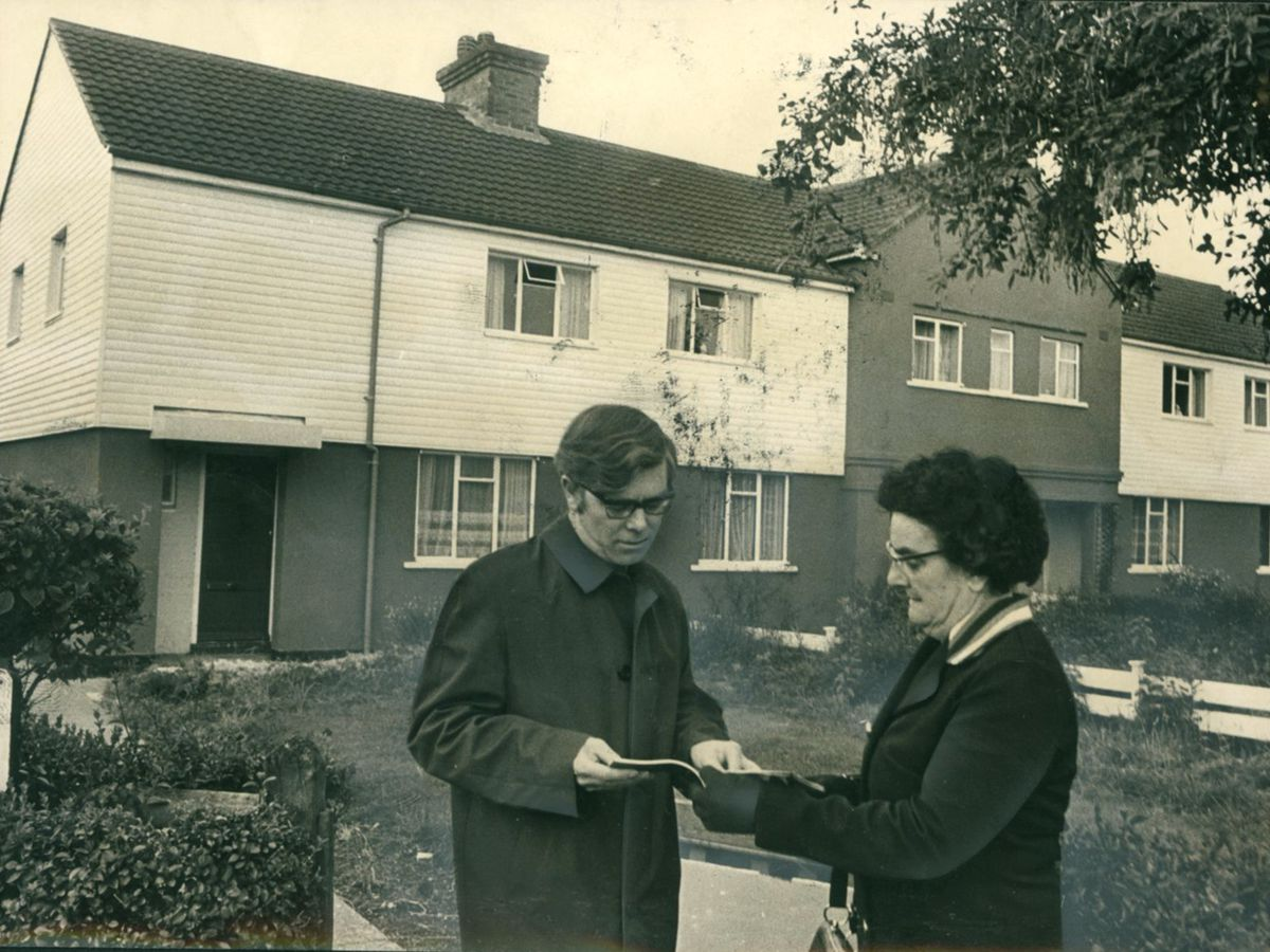 Councillor Tom Larkin, vice chairman of the housing committee, and Councillor Mary Pointon, chairman,  outside some of the completed houses in Low Hill during a tour of inspection in September, 1972.