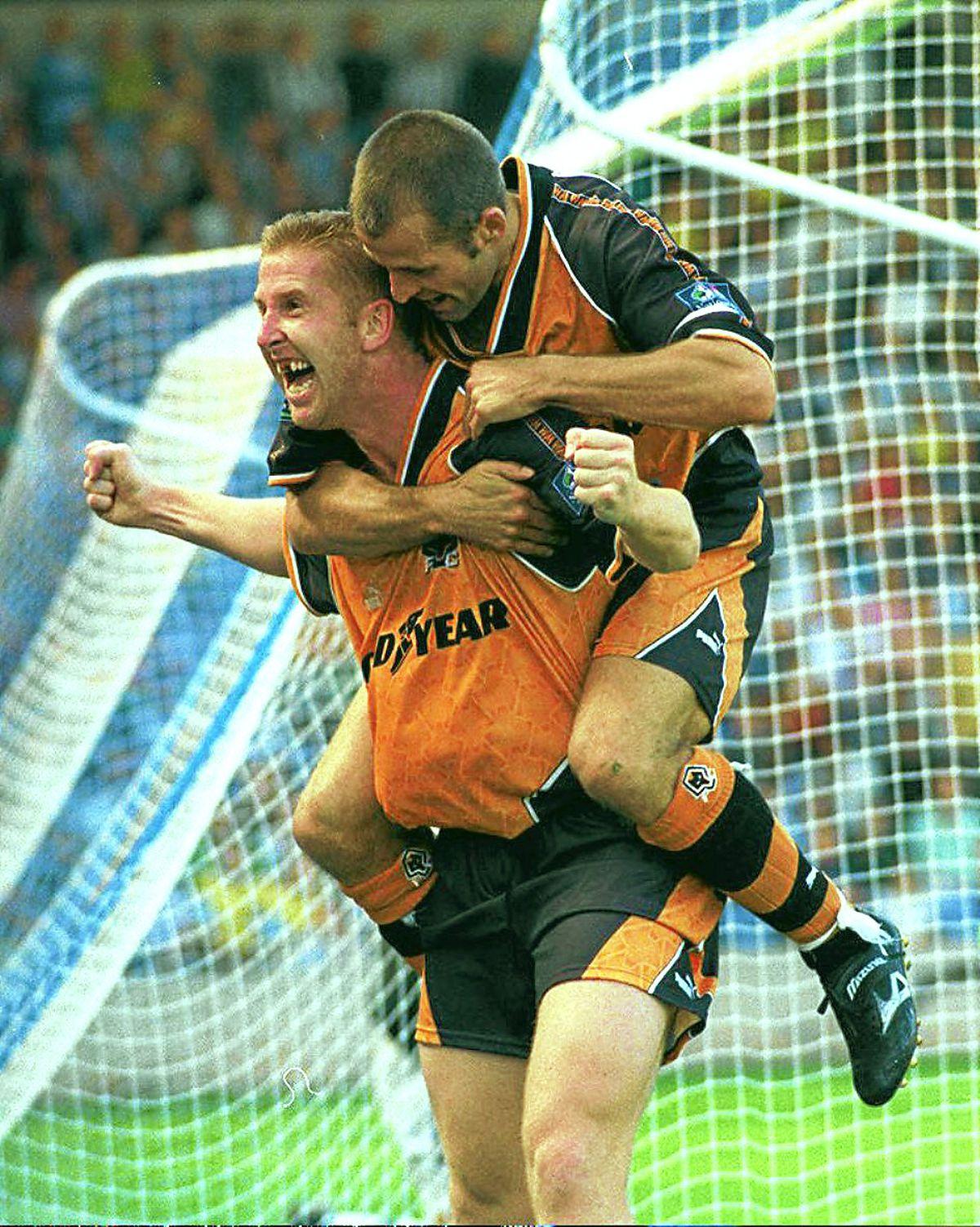 Iwan Roberts celebrates his third goal in that 1996 triumph