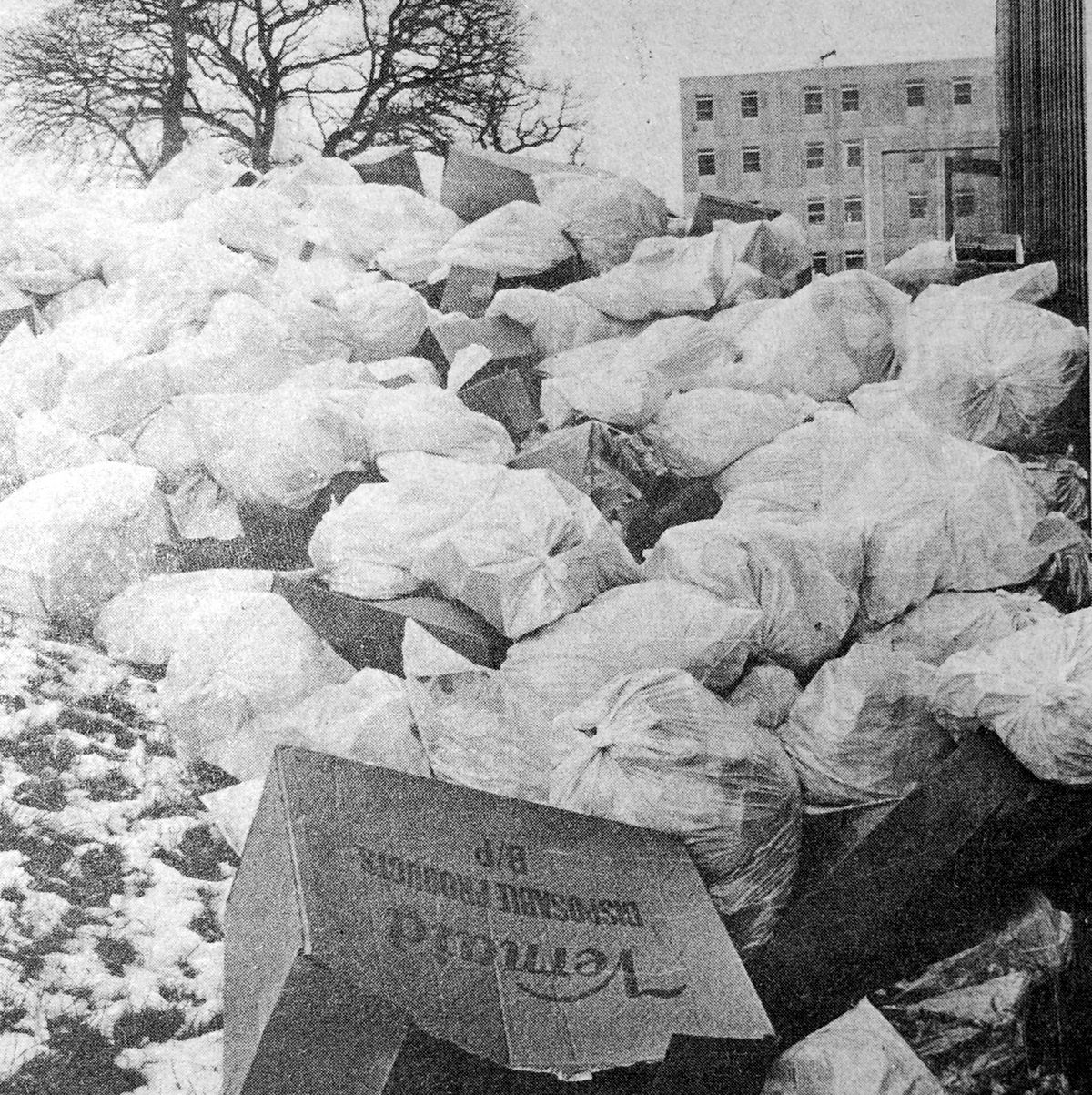 A build-up of rubbish outside the Royal Shrewsbury Hospital in February 1979, caused by an ancillary workers dispute.