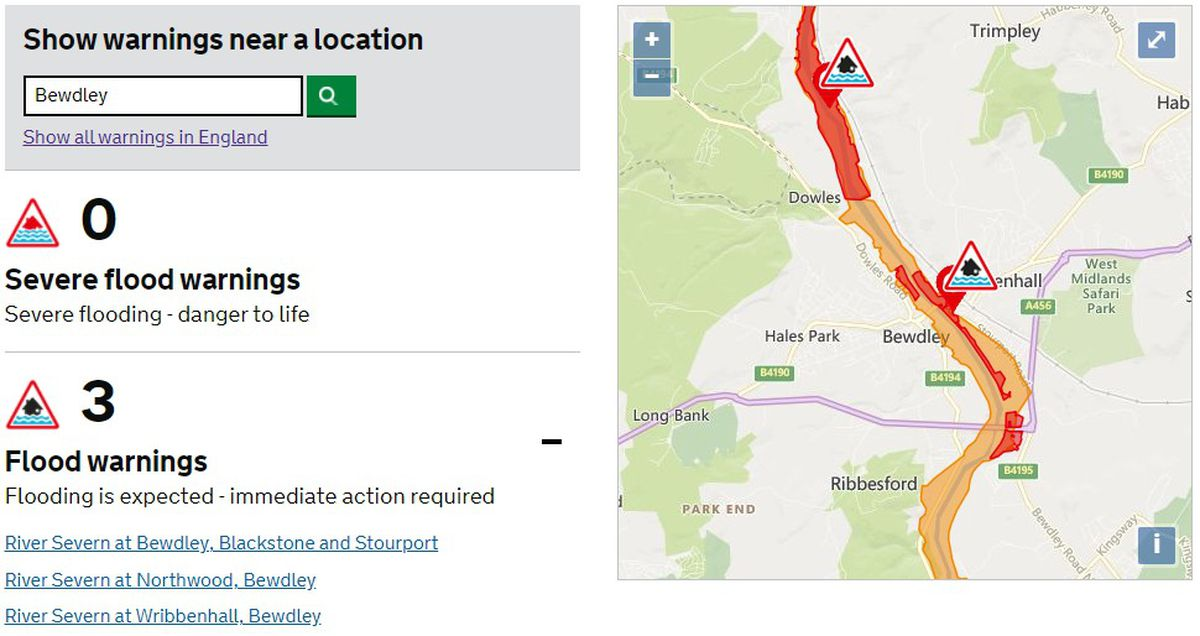 Flood warnings in place for Bewdley