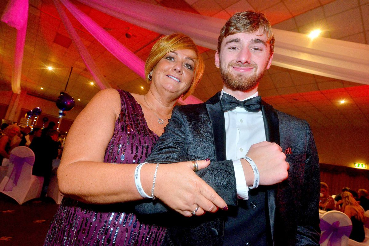 Suzy Evans with her son Owen at the ball