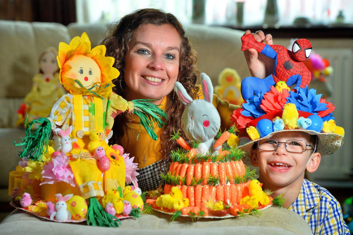 Kellie Bates and son Matthew making Easter Bonnets to raise money for charity