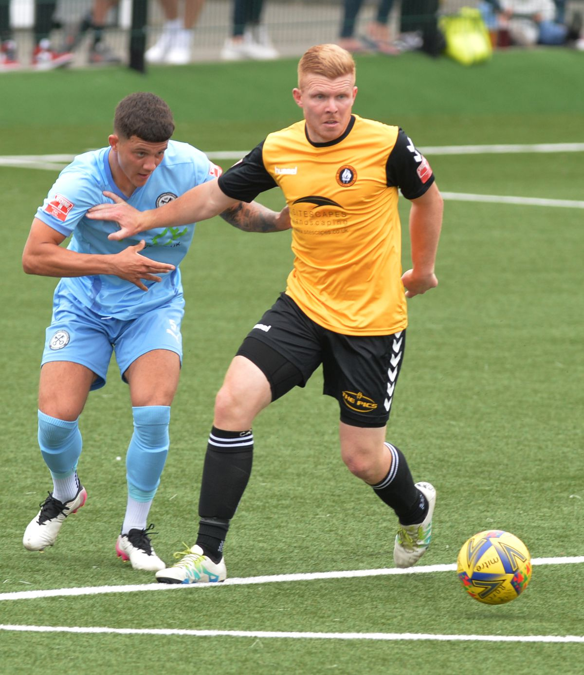 SPORTS PIC MNA PIC  DAVID HAMILTON PIC  EXPRESS AND STAR 30/8/21 RUSHALL OLYMPIC VS HEDNESFORD TOWN Lewis Ludford-Ison and Daniel Glover.