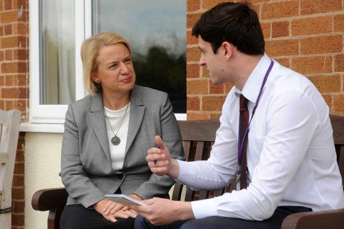 Express & Star reporter Robert Cox interviews Green Party leader Natalie Bennett
