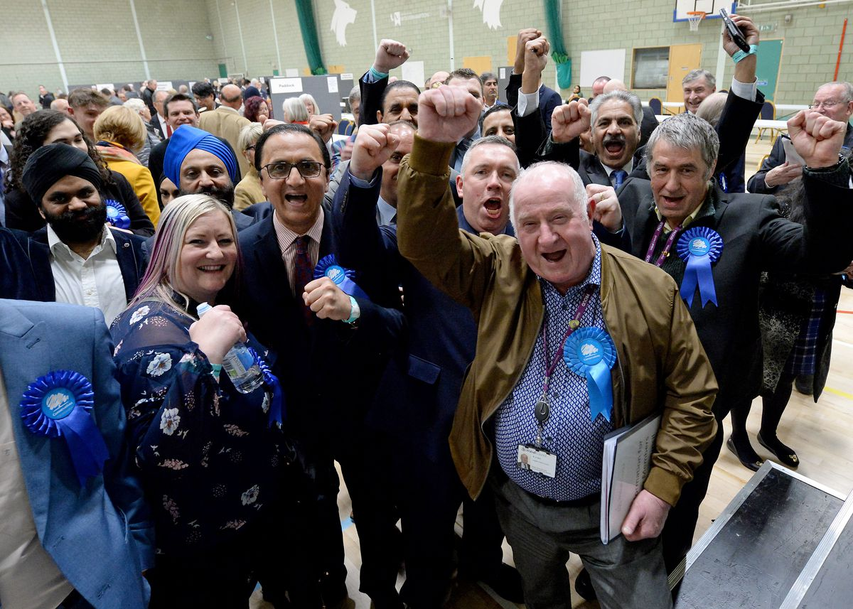Celebrations for the Conservatives, who gained two seats