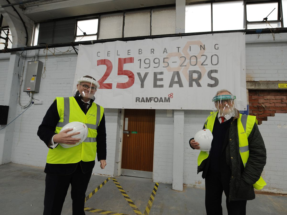 Group sales director Timothy Mulqueen, left, and Warley MP John Spellar at Ramfoam