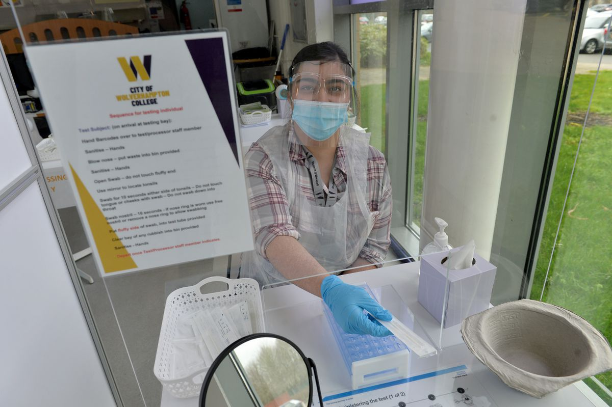 The test centre at the City of Wolverhampton College, Bilston, is ready for the students return. Pictured is student and test volunteer Simranjyot Khan