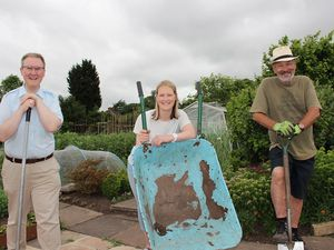 Councillor Nicolas Barlow, Liz Jones from Dudley Council and Alan Jones from Wollaston Allotment