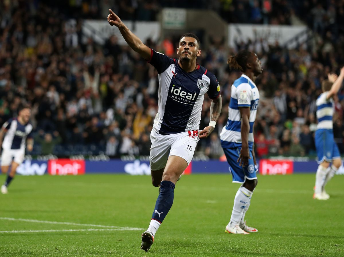 Karlan Grant of West Bromwich Albion celebrates (Photo by Adam Fradgley/West Bromwich Albion FC via Getty Images).