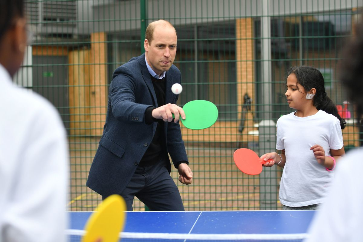 The Duke of Cambridge playing table tennis during a visit to The Way Youth Zone Photo: Jacob King/PA Wire