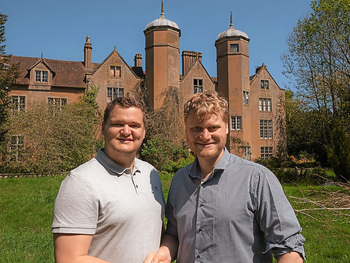 Samuel and Russell Leeds outside the Grade-II Listed Ribbesford Hall on the outskirts of Bewdley
