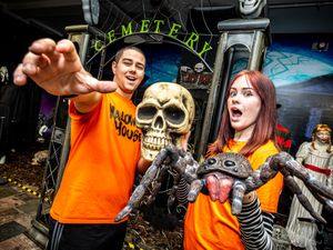 Alex Yeates and Jasmine Wilson at the spooky store