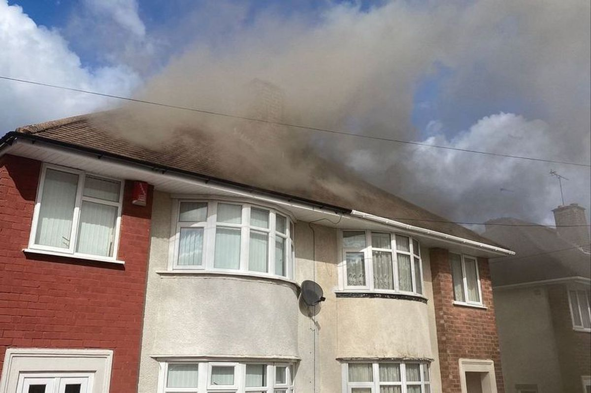 Crews battled to put out the fire on Rosemary Crescent in Dudley (photo by West MIdlands Fire Service)