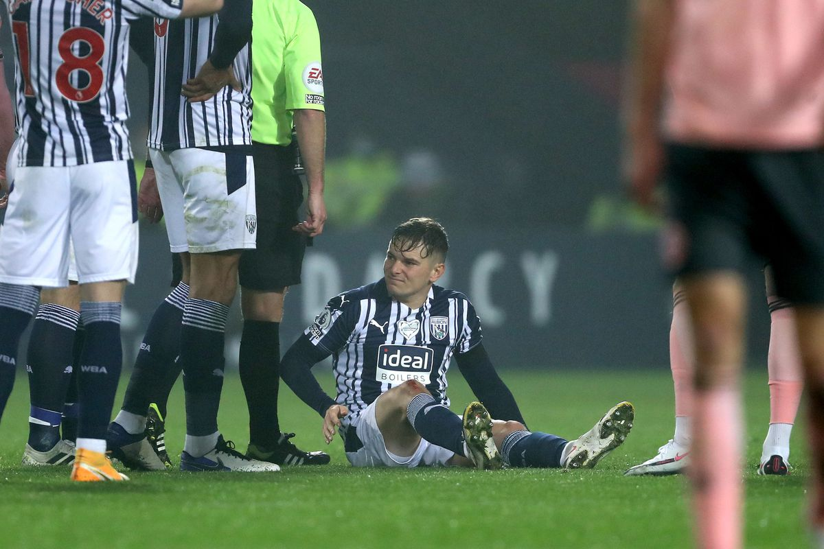 Conor Townsend of West Bromwich Albion is forced off injured. (AMA)