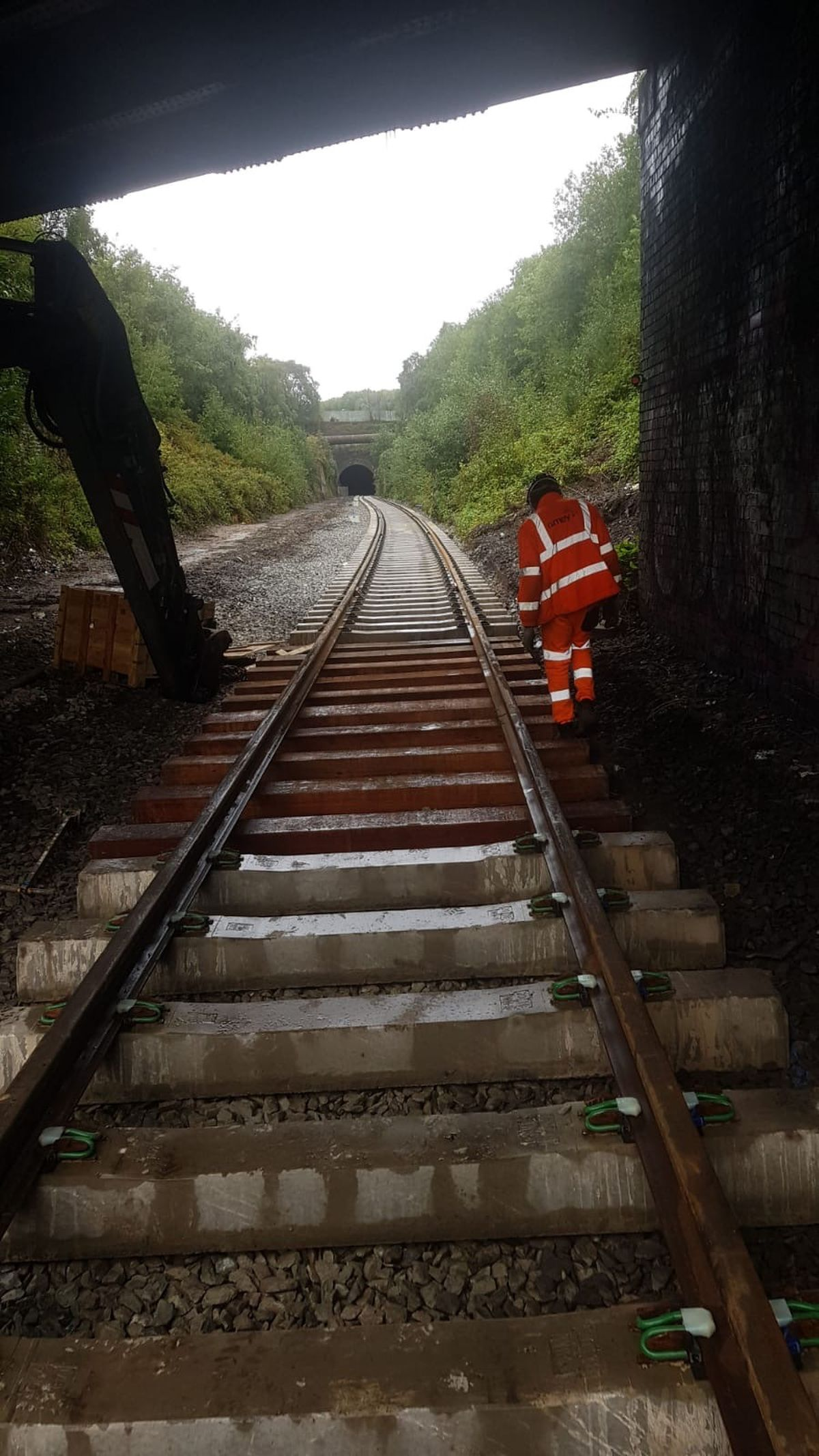 The track which has been laid in a disused tunnel which runs between Castle Gate and Cinder Bank