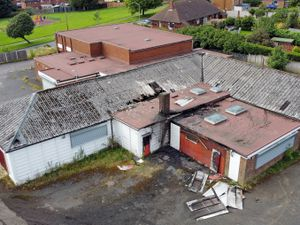 Damage to the roof can be seen on the United Kingdom Knanaya Catholic Association building, Woodcross Lane, Bilston, after the fire