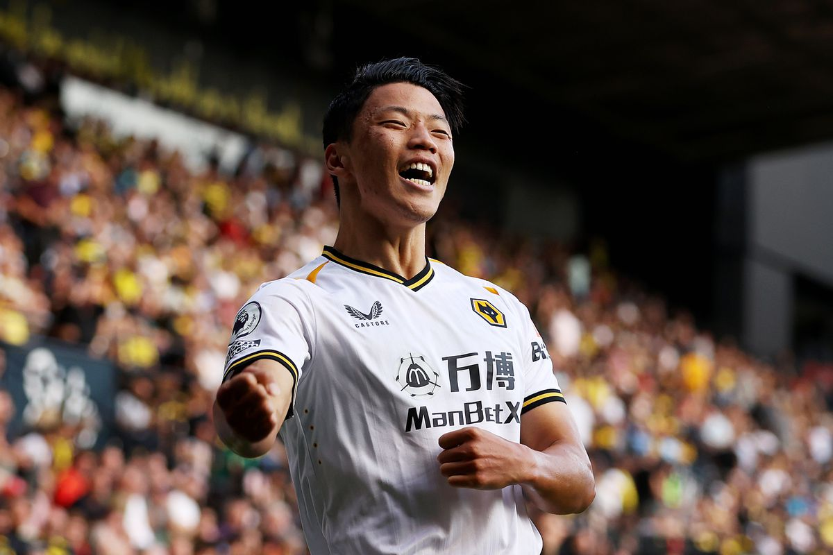 Hee-chan Hwang of Wolverhampton Wanderers celebrates (Photo by Jack Thomas - WWFC/Wolves via Getty Images).
