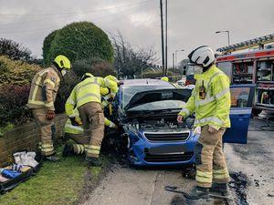 Firefighters at the scene on Bosty Lane. Photo: Aldridge Fire Station