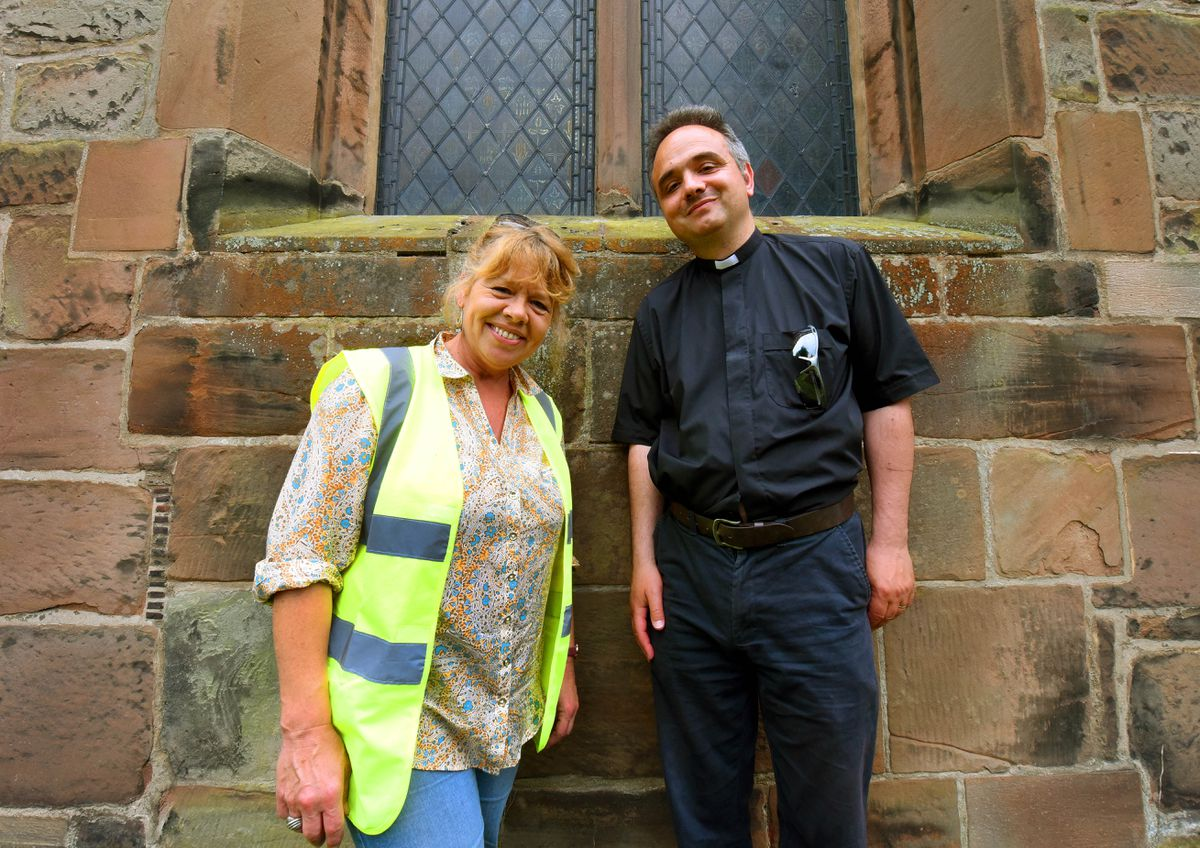 Rev Greg Yerbury and heritage consultant and director of Commercial Archaeologists Helen Martin-Bacon, next to what used to be the original entrance to the church.