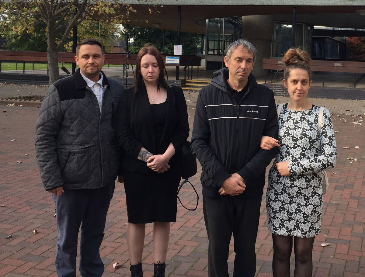 Outside Shirehall, where the inquest took place, are John Meek and April Keeling, right, with Jonnie's aunt and uncle Aimee Meek and Martin Anthony