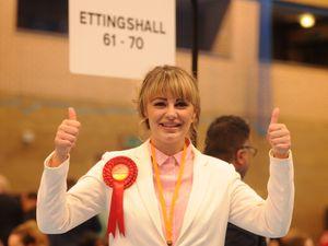 Labour candidate Beverley Momenabadi celebrates winning in Ettingshall