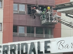 Dramatic rescue sees patient removed through fifth-floor window