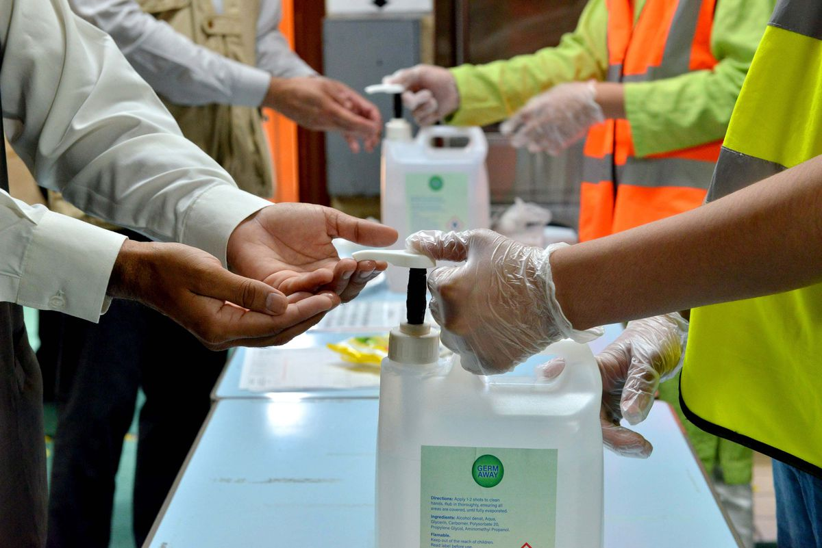 The hand sanitiser stations are part of a range of safety measures, which include a one-way system and the temporary closure of toilets and washing areas